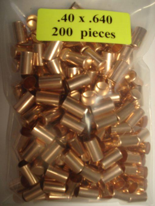 .40 x .640 Copper Bullet Swaging Jackets