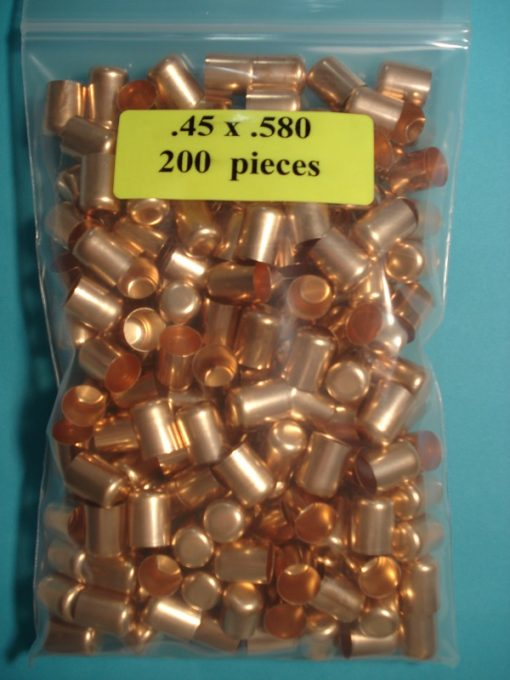 .45 x .580 Copper Bullet Swaging Jackets